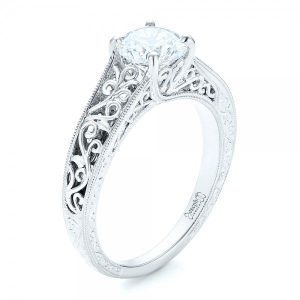 #102565 This beautiful engagement ring was custom designed by Joseph  Jewelry.This ring features