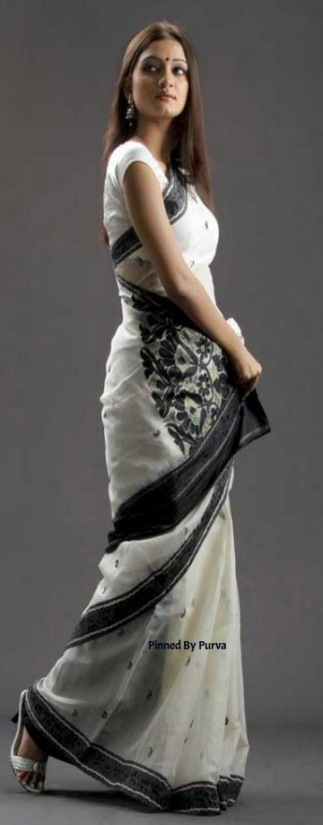 ❀Purva❀ - White and Black Saree - Tangail Sarees