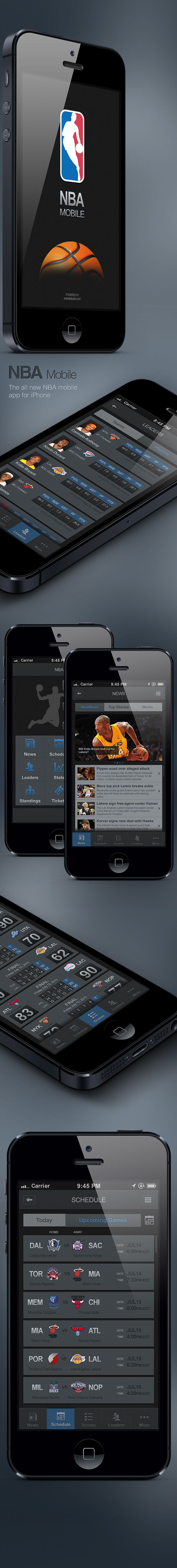 NBA Mobile App for iPhone by Alex V. Tarloyan, via Behance