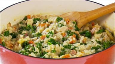 Chicken Risotto with Bacon and Kale
