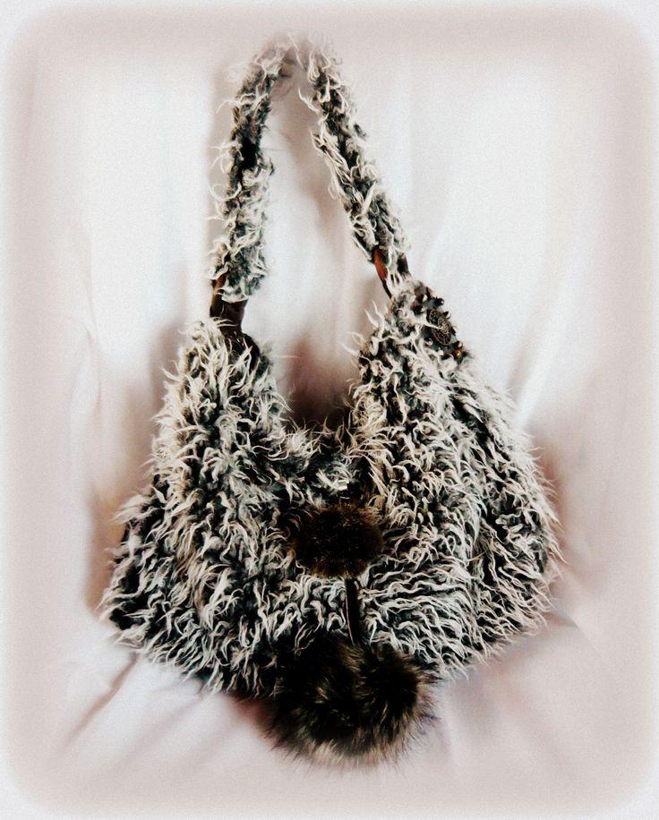 """Handmade by Judy Majoros- """"Yeti"""" Faux fur hobo bag. Faux fur pompoms bag.Recycled bag"""