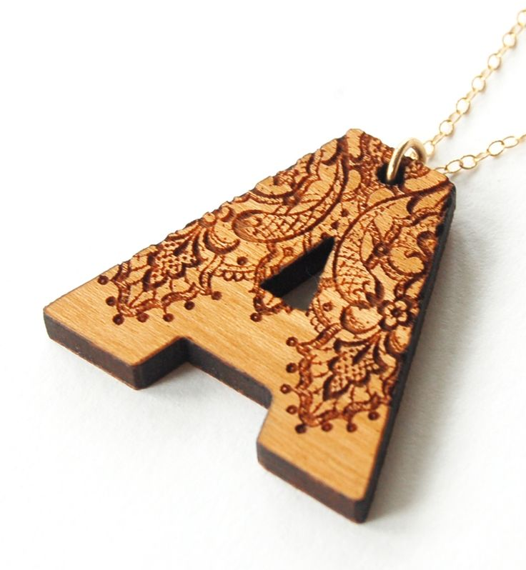 Wooden letter necklace