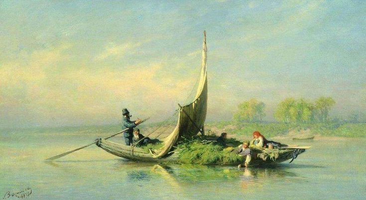 'Peasant Family on a Boat' 1870 | Fedor Vasiliev
