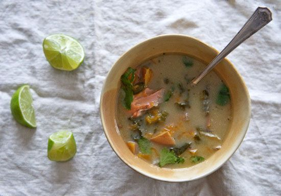 Healthy Green Kitchen Coconut Milk Soup with Wild Salmon and Kale