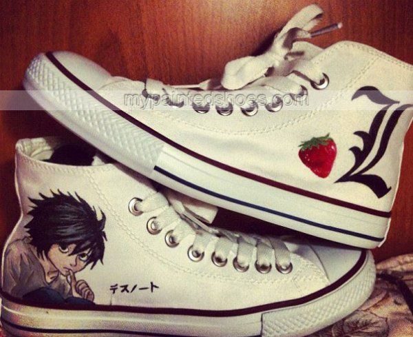 Death Note L sipariş Sneaker High-top Painted Canvas Shoes