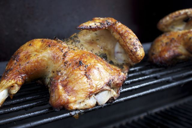 Herbed half chicken - looks like a good basic recipe for a rotisserie type of rub, or just a simple rub for any roasted chicken