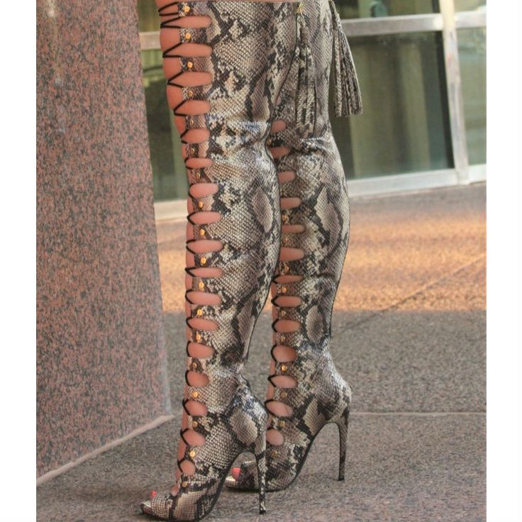 Nelly Bernal Lace Up Thigh High Boots Maneater