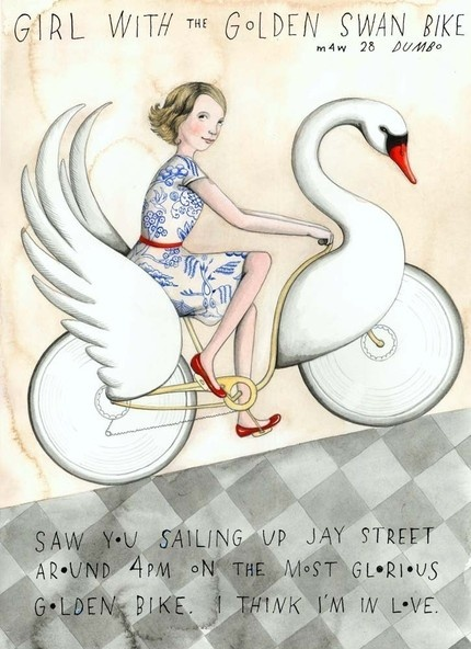 Girl with the Golden swan bike: beautiful print from Sophie Blackall