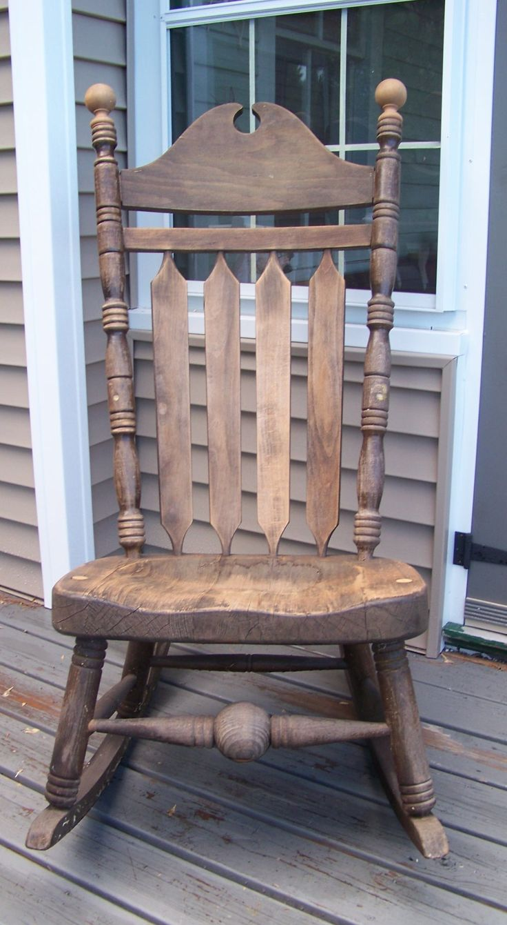 Country crafted wooden chair and stool ebth - Sheepscot River Primitives Old Rocker