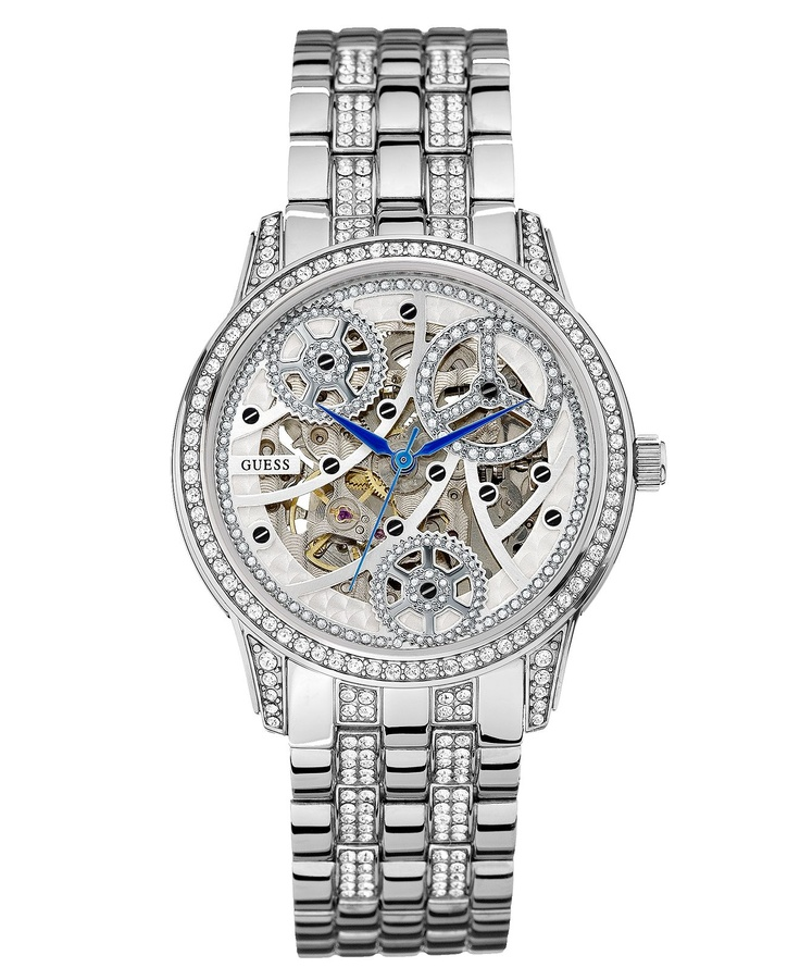 GUESS Watch, Women's Automatic Crystal Accented Stainless Steel Bracelet 40mm U25004L1 - Women's Watches - Jewelry & Watches - Macy's
