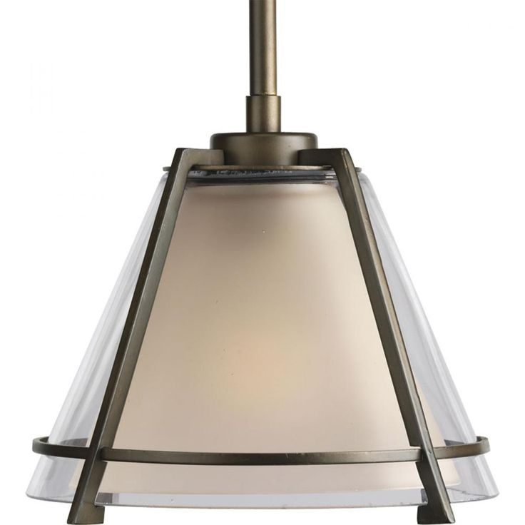 progress lighting 1light minipendant in oil rubbed bronze with thin linear details - Glass Pendant Lighting