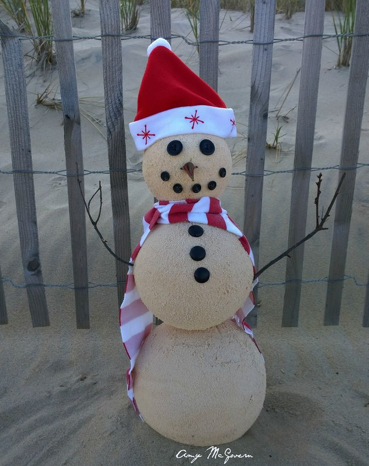 Sand Snowman Christmas Beach Theme Made From Sand And