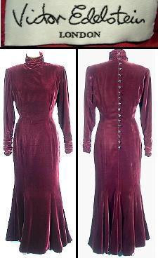 Victor Edelstein button up longsleved turtleneck velvet dress, 1980s.