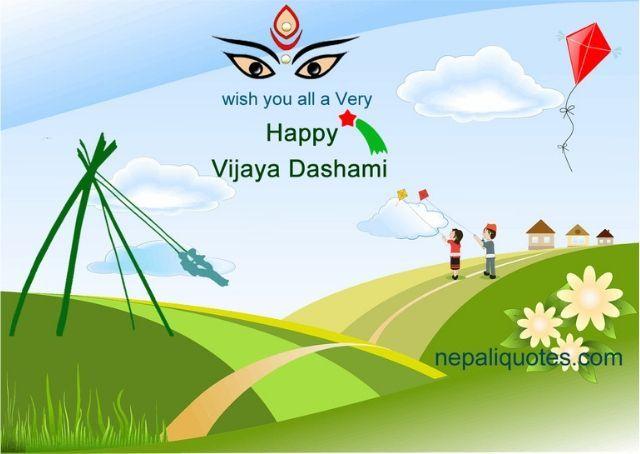 Happy Dashain Card Dashain Greeting Card In English Cards Festive Cards Greetings