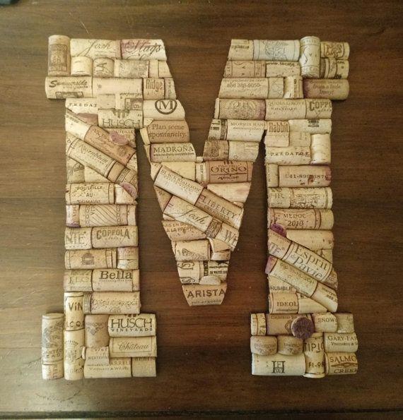 """Letter M, Custom 13"""" Handmade Wine Cork Letter for Wall, Bar or General Decor"""
