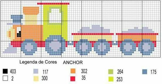 Vehicle train cross stitch.