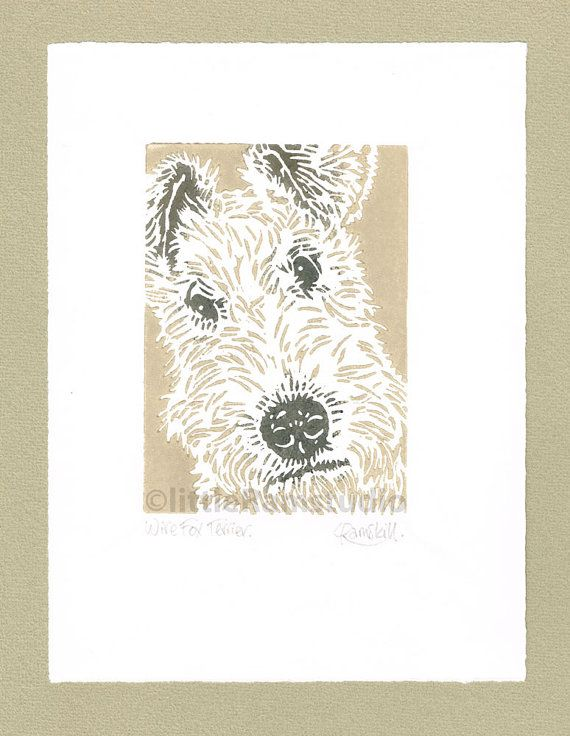 Wire Fox Terrier Dog - Original, hand printed linocut. Printed in three colours, fawn and a blend of black and brown ink. Signed and titled in