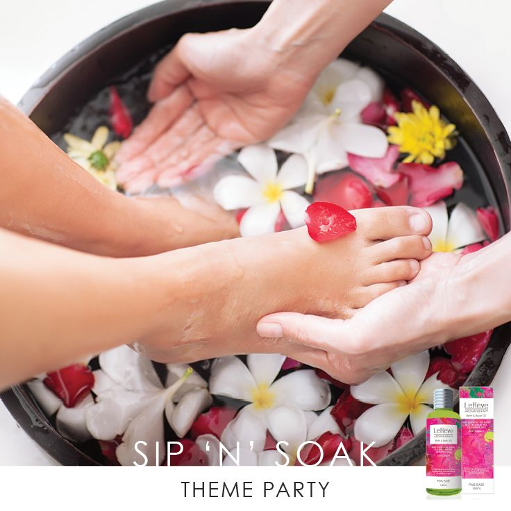 LE REVE SIP 'N' SOAK THEME PARTY Catch-up with friends over a glass of bubbles while enjoying a peaceful Aromatherapy foot spa! Sip 'n' Soak Theme Party may include: Foot spas, 'Chocolate Guessing' game, Aromatherapy sampling and pampering. Ask your Consultant for more information or see our website AUSTRALIA: http://www.lereve.com.au/whatisrendezvous NEW ZEALAND: http://www.lereve.co.nz/whatisrendezvous