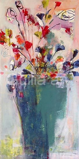 Jazzy Floral by Julia Forman Acrylic ink ~ 1000 x 500