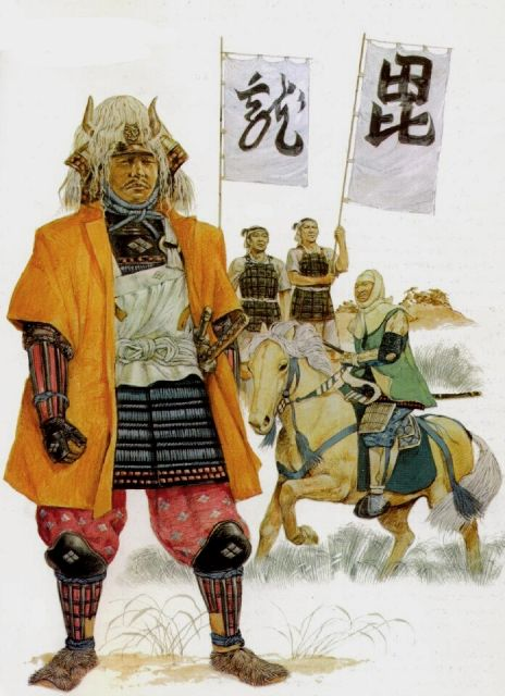 Takeda Shingen (foreground), 1570 and Uesugi Kenshin (mounted), 1570.  Rear - ashigaru with Kenshin's war banners.