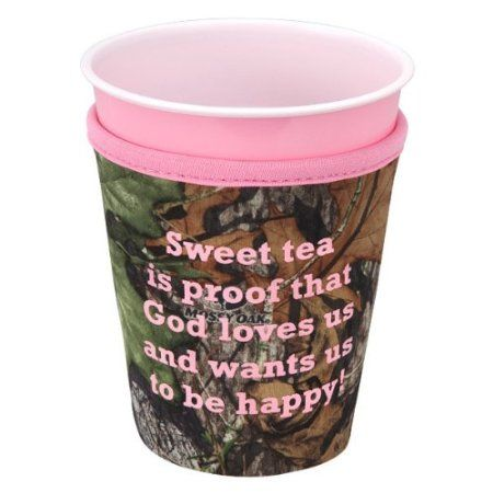 "i NEEEEDDD this  Amazon.com: Mossy Oak Pink Camo Koozie - ""Sweet Tea"": Kitchen & Dining"