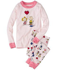 Kids Snoopy Be Mine Long John Pajamas In Organic Cotton by Hanna Andersson