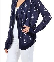 Navy Anchor Cardigan! SO CUTE! $32 Clothes