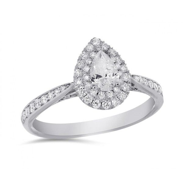 14K WHITE GOLD PEAR SHAPED GLACIER FIRE CANADIAN DIAMOND .75CTW BRIDAL... ($2,799) ❤ liked on Polyvore featuring jewelry, rings, white gold band ring, sparkly diamond ring, bridal rings, 14 karat gold diamond ring and 14 karat diamond ring