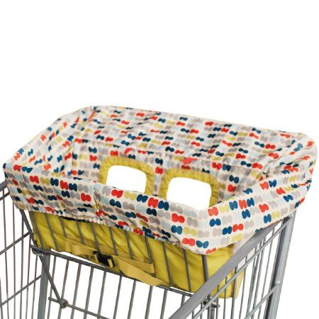 One of these is a must-have.  We have this one, but I am sure it doesn't matter.  Amazon.com: Skip Hop Take Cover Shopping Cart/High Chair Cover, Double Dots: Baby