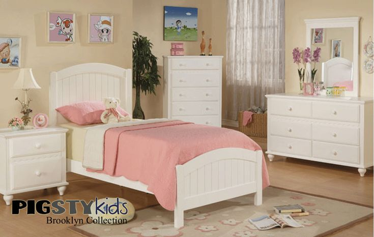 Brooklyn white beadboard twin bed girls room furniture - White bedroom furniture for girl ...