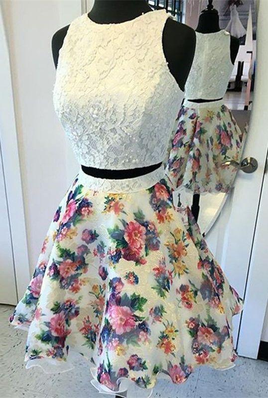 Two Piece Prom Dress,Round Neck Dress,Short Dresses,Ivory Dress,Printed Dress,Short Homecoming Dress,Homecoming Dress 2K17,Dresses For Teens