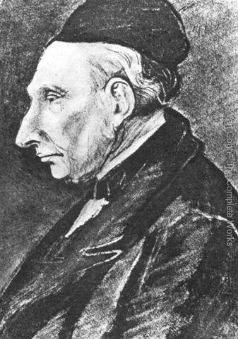 """""""Theodorus van Gogh"""" (1822-1885), padre di Vincent e pastore della comunità riformata olandese. Il 1^ aprile 1849 divenne pastore di Zundert. Theodorus aveva 11 fratelli.  Disegno di Vincent, Etten, luglio 1881. Matita e china, sfumato, 33x25cm. L'Aja, collezione privata."""