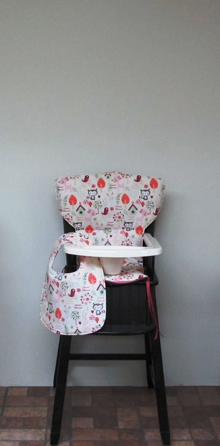 Painted wood high chair - Wooden Chair Cushion For Eddie Bauer Newport Or Safety First Highchair Cotton Custom Baby Girl High Chair Cushion Sweet Forest Matching Bib