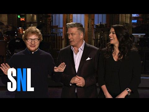 Ed Sheeran Shows SNL Host Alec Baldwin & Cecily Strong His Trump Impression - YouTube