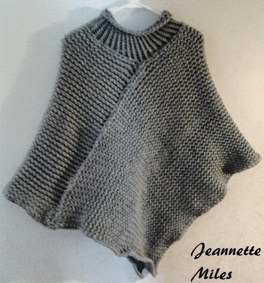 The Knifty Knitter: Poncho with Collar Loom Knitting Pinterest Patterns...