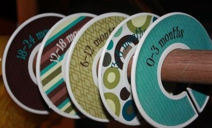 DIY closet dividers made from old cds - great for separating baby clothes sizes or for those of us who are just OCD