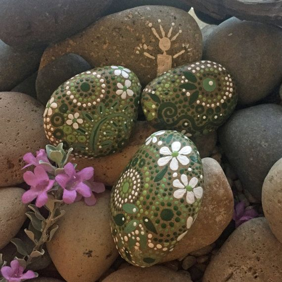 Painted Rock Mandala Inspired Design Natural Home Decor Rock Art Free Us Shipping Garden Art Fields Of Color Collection Trio 24