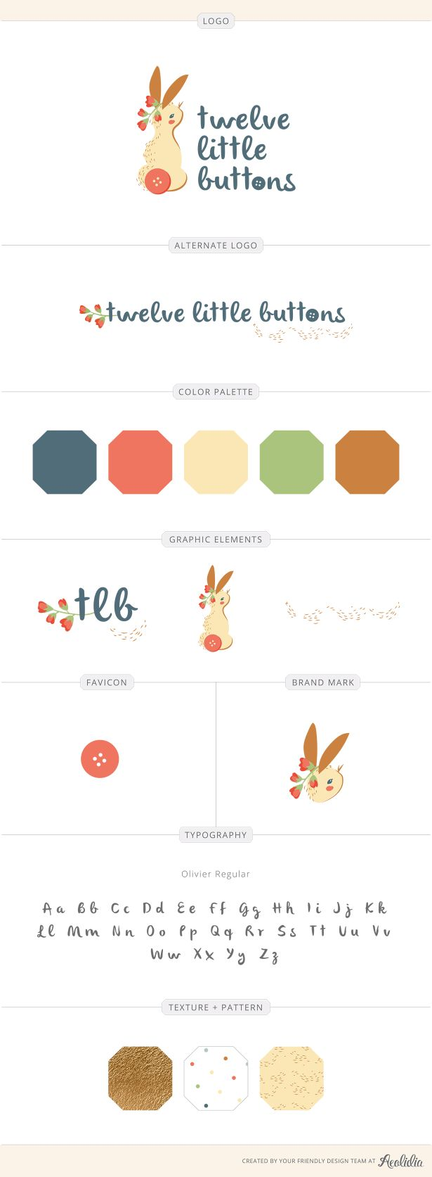 Twelve Little Buttons brand identity by Sarah Enid Connor for Aeolidia