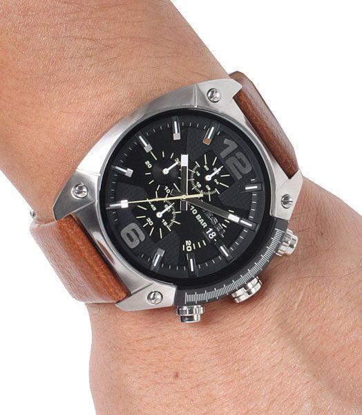 Diesel mens black dial leather analog Chronograph quartz watches DZ4296 #Diesel #Watches #menswear #Analog #Quartz #wristwatch