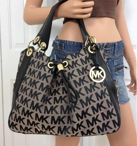 Michael Kors MK Signature Large Black Tote Handbag Shoulder Bag Purse #MichaelKors #ShoulderBag
