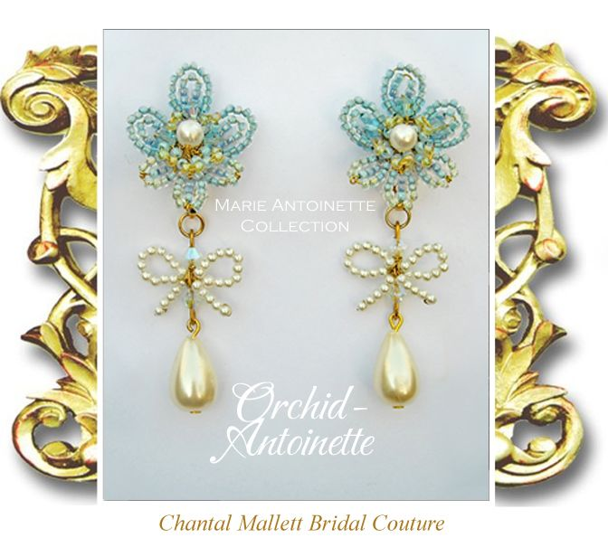 ORCHID-ANTOINETTE: Blue & green Swarovski crystal & seed bead hand made Orchid flowers with cream pearl centres from which drop a pearl bow & tear drop. Turn these into shoulder dusters by clipping on the matching leaf & pearl extenders designed for the Tuileries design. Hand made to order. Other colours available.