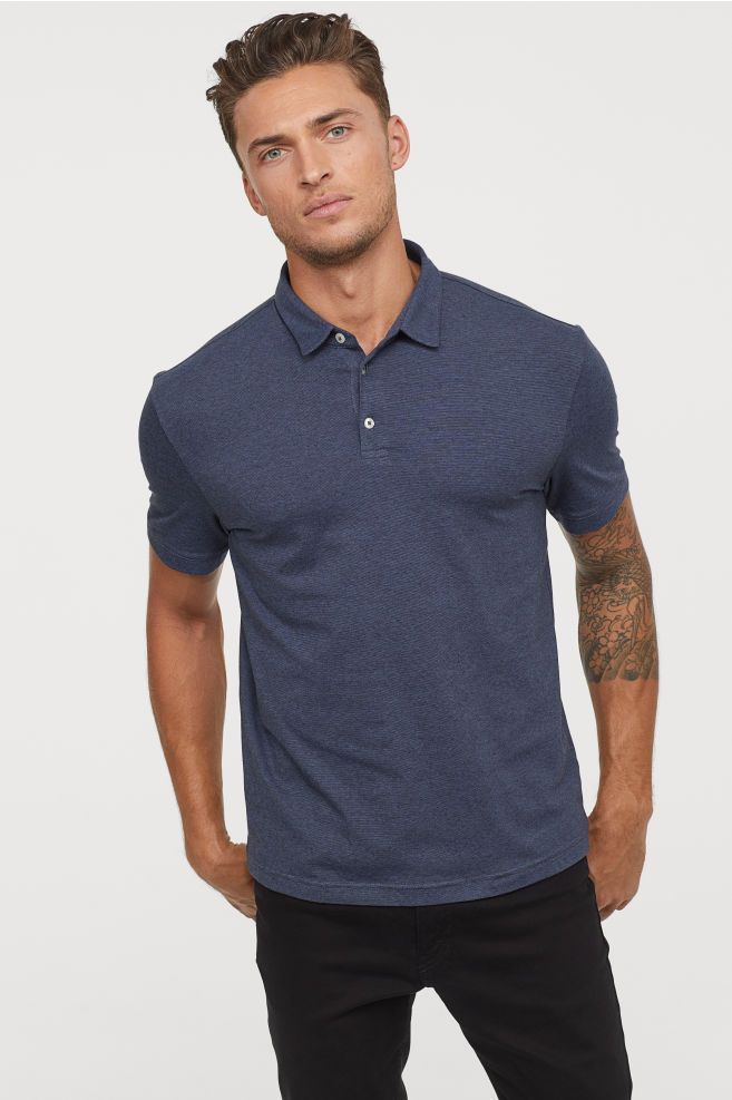 4bc0c4114c05ab H&M Polo Shirt Slim fit - Blue in 2019 | Clothes | Polo shirt ...