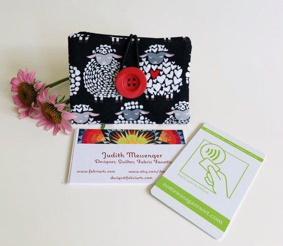 Business Card Case, Sheep Themed Credit Card Holder, Gift Card Purse, Loyalty Card Mini Wallet, Rewa