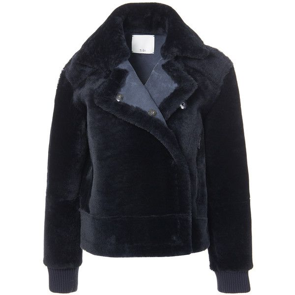 Tibi Midnight Navy Shearling Aviator Jacket (8.940 BRL) ❤ liked on Polyvore featuring outerwear, jackets, midnight navy, aviator jacket, tibi, blue jackets, shearling jacket and shearling aviator jackets