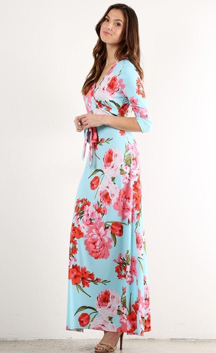 """""""Creme de la Creme"""" Dusty Blue Floral Wrap Maxi Dress"""