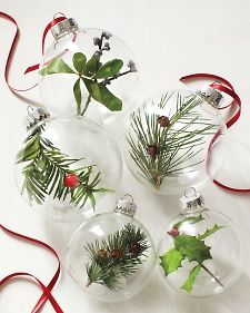 Fill clear #Christmas globes with nature-inpsired goodies for one-of-a-kind ornaments! #diy #holidays