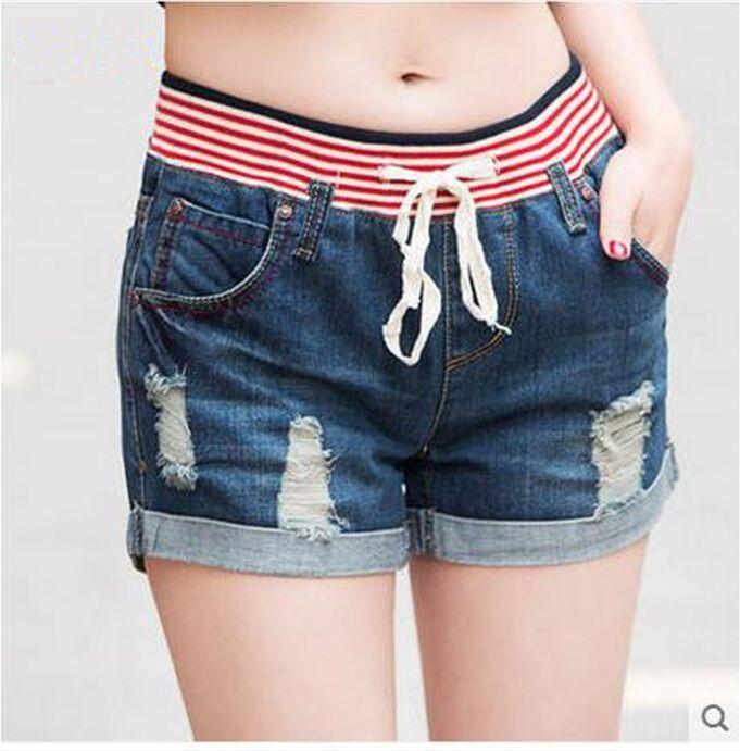 Estilo de Verano 2016 Nuevo más el tamaño de la manera ocasional de las mujeres del agujero flojo de la cintura que prensa de cintura alta pantalones cortos pantalones cortos de mezclilla