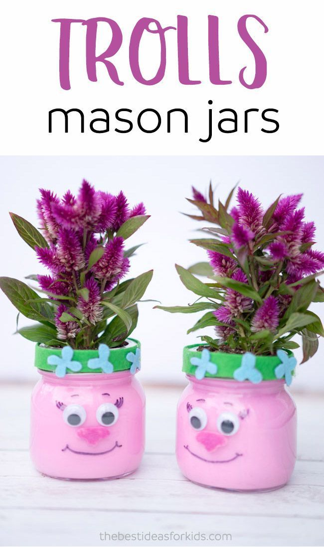 Make these adorable Trolls Mason Jars for a Trolls-themed party or for a fun kids craft!!