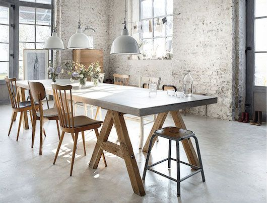 Long sawhorse table that can double as dining and work table.