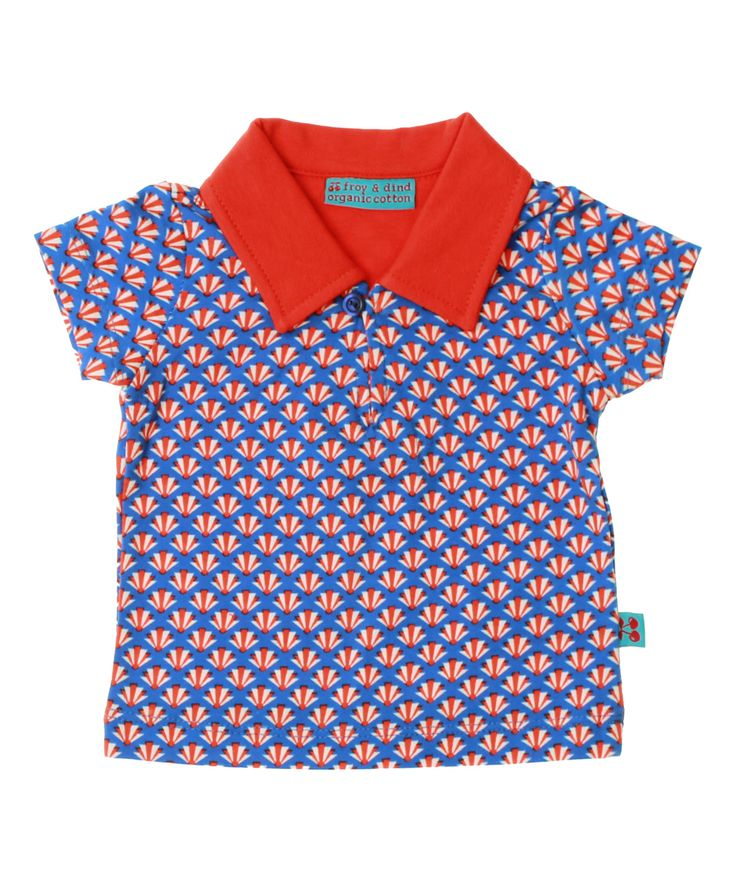 Froy & Dind retro printed baby polo in blue and red. froy-en-dind.en.emilea.be